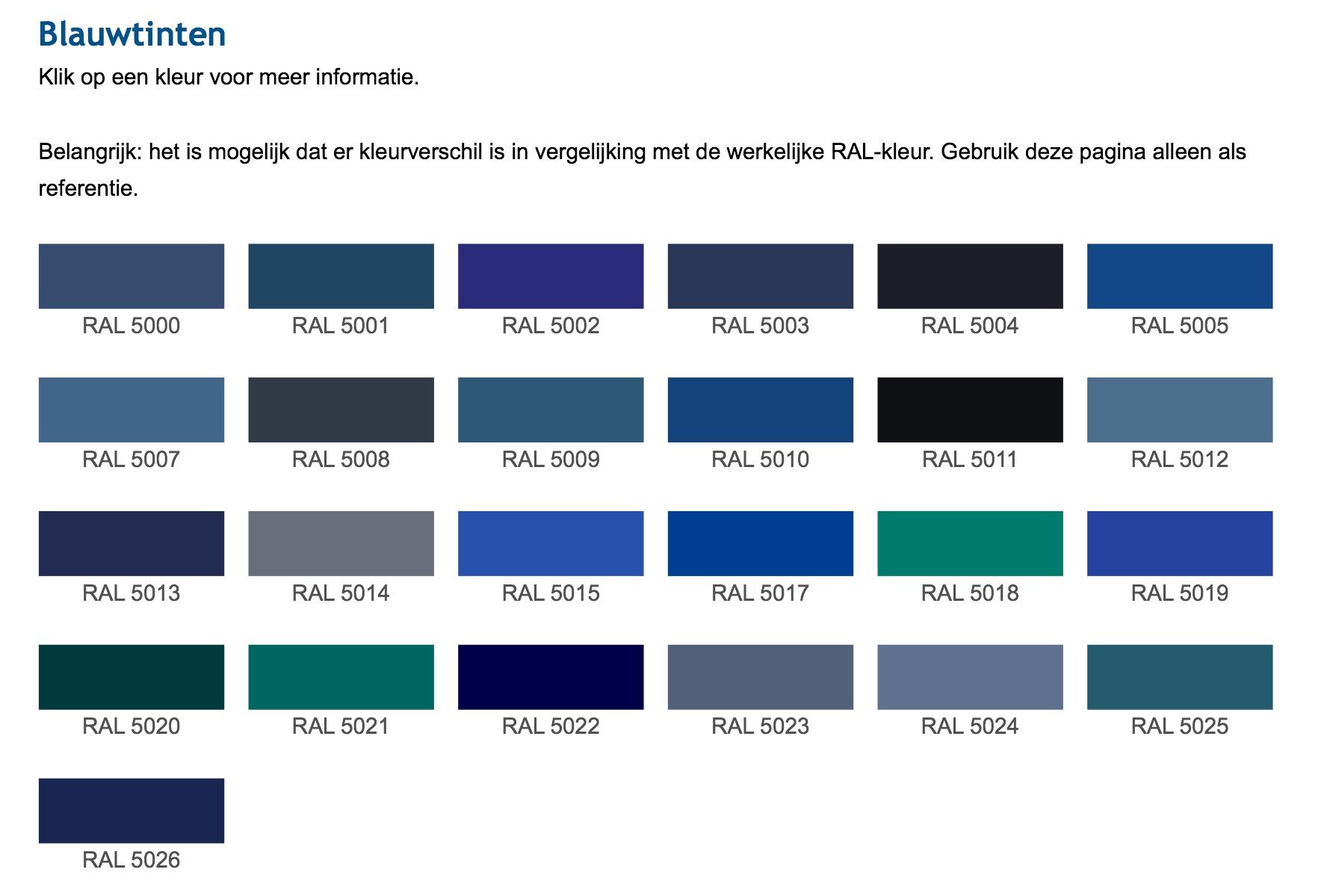 Ral Kleurenkaart Voor Schilderwerk Comfort Schilder